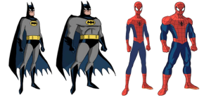 Participants were presented either a muscular or non-muscular version of The Dark Knight and Spidey