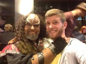 Receiving the traditional Klingon welcome greeting from Kaolin son of Kiln, who when not killing it at trivia also does Klingon karaoke.